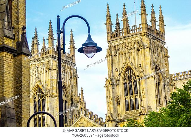 York Minster, close up view, Old, historical architecture in York, North Yorkshire, England, UK