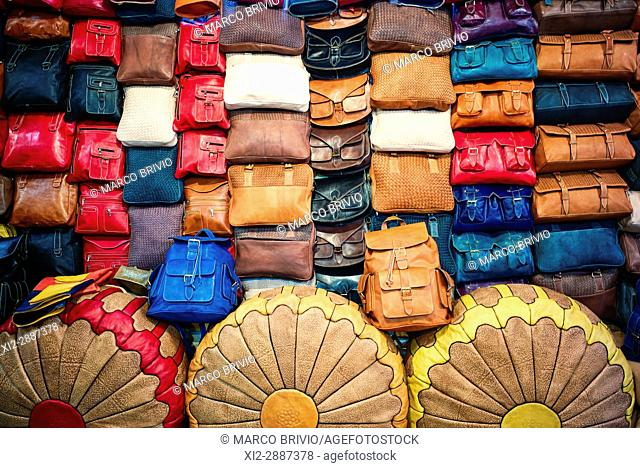 Leather articles shop in the medina of Fez, Morocco