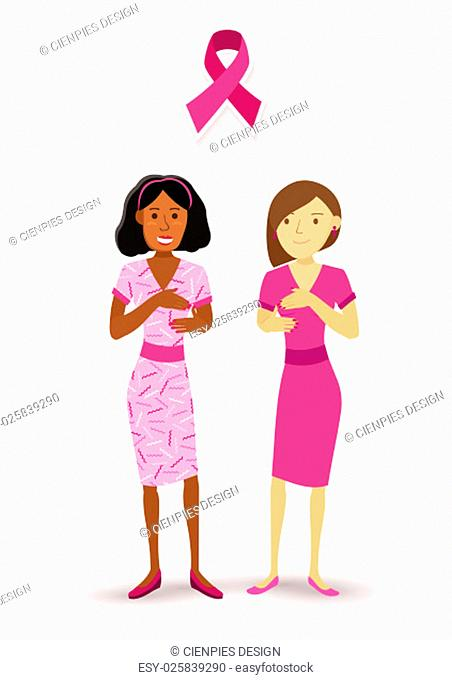 Breast cancer awareness two healthy women in flat art style dressed in pink encouraging medical check up. EPS10 vector
