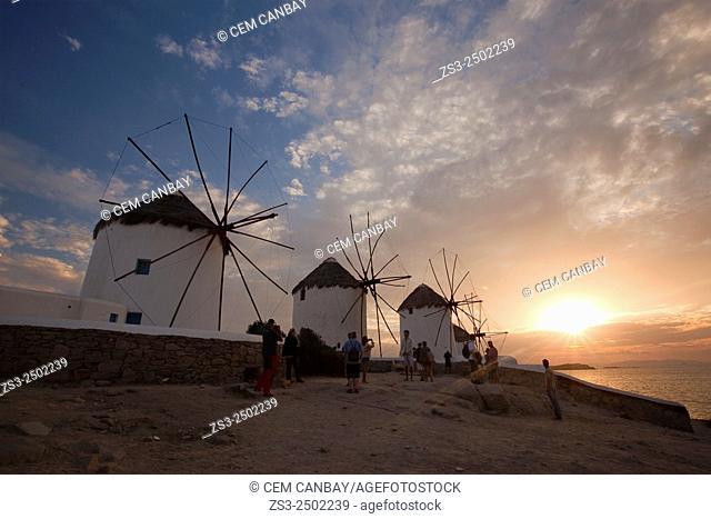 Traditional windmills in Mykonos town at sunset, Mykonos, Cyclades Islands, Greek Islands, Greece, Europe