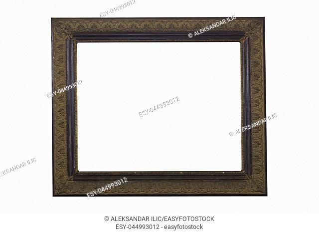 Wooden Ornate Picture Frame Isolated On White Background. Antique and Vintage Objects