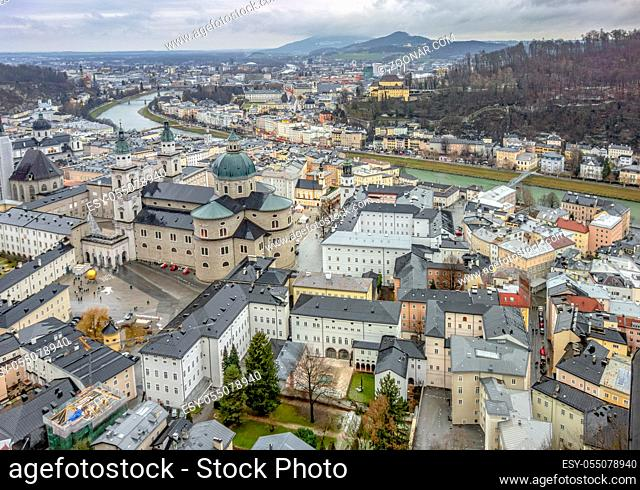 aerial view of Salzburg in Austria at winter time