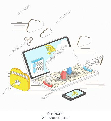 Mobile communication network on smart phone and notebook computer with wifi and cloud
