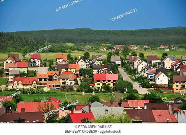 View of Chentshin from the castle tower, Swietokrzyskie Voivodeship, Poland. The cicy was first mentioned in historical documents from 1275