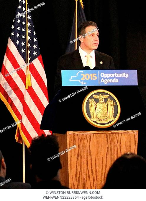 Andrew Cuomo announces minimum wage will be raised to 11.50 an hour at the 2015 Opportunity Agenda at The Malcolm X and Dr