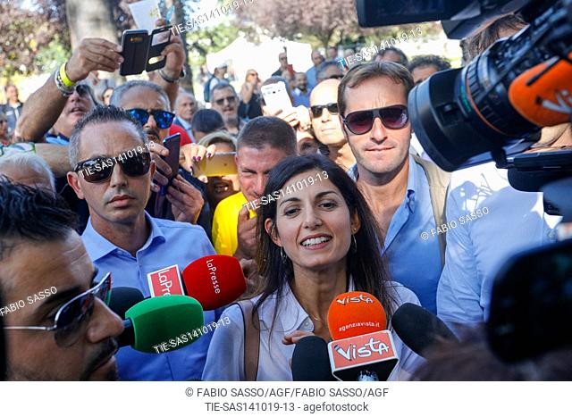 Mayor of Rome Virginia Raggi during the Meeting ' Italia a 5 Stelle ' for the 10 years of the birthday of M5S ( Five Stars Movement ) Naples, ITALY-13-10-2019