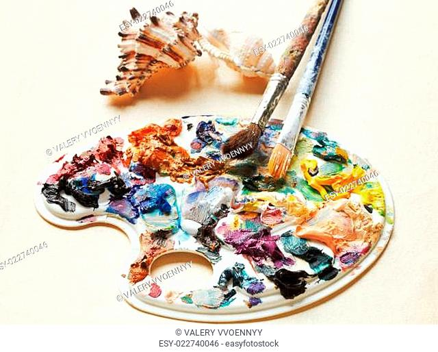 shells , used artistic pallette, paintbrushes