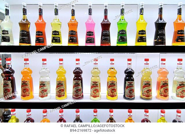 Different liquors in Alimentaria, International Food and Drinks Exhibition, Fira de Barcelona. L'Hospitalet de Llobregat, Barcelona, Catalonia, Spain