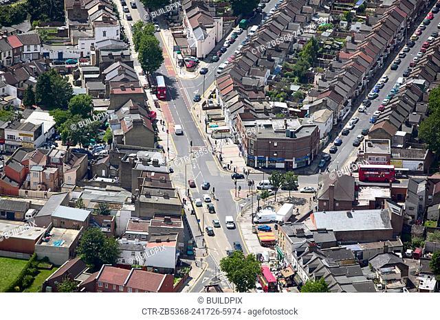 Aerial view of East London suburb, Thames Gateway, London UK