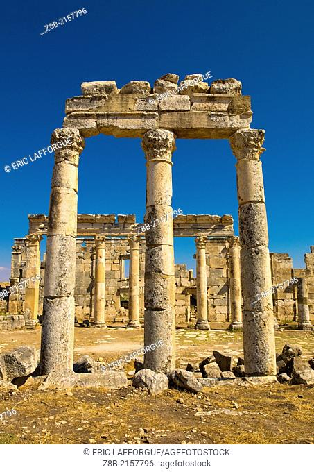APAMEA, SYRIA - APRIL 19: Apamea is located on the right bank of the Orontes river, north west of Hama and it overlooks the Ghab valley