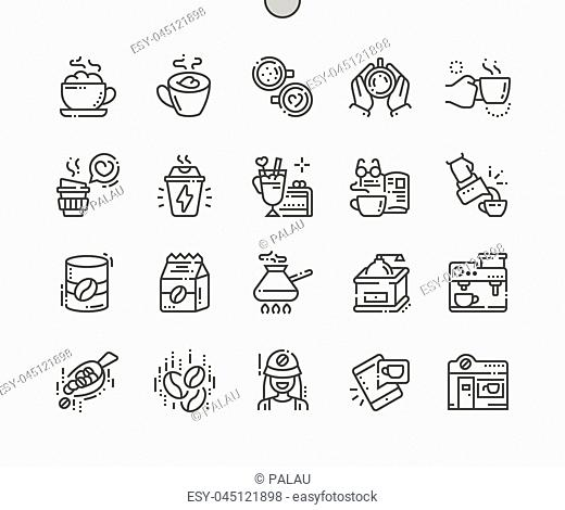 Coffee Well-crafted Pixel Perfect Vector Thin Line Icons 30 2x Grid for Web Graphics and Apps. Simple Minimal Pictogram