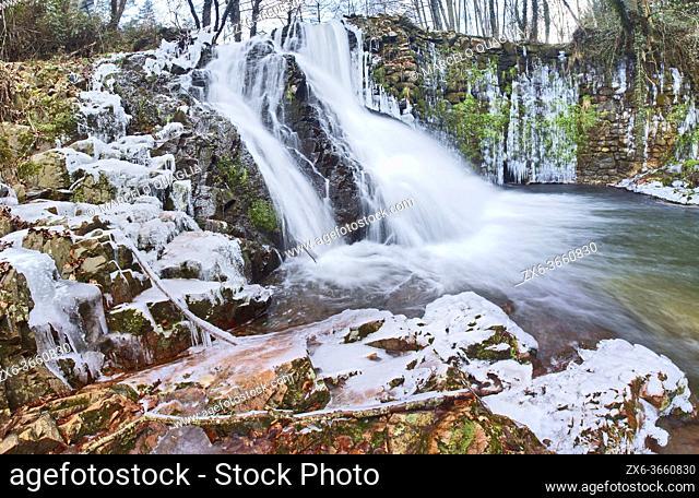 Riera Major stream waterfall. Viladrau countryside in wintertime. Montseny Natural Park. Barcelona province, Catalonia, Spain