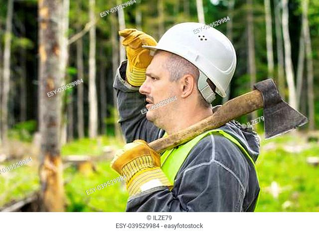 Lumberjack in the forest with an ax