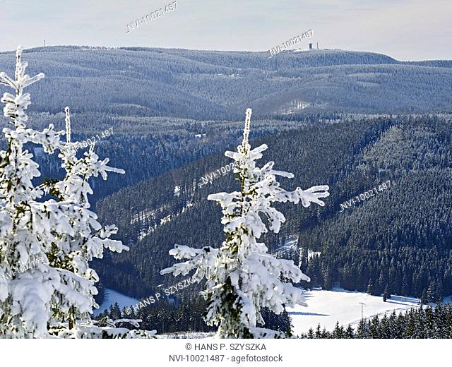 View from Kickelhahn at Ilmenau to Thuringian forest with Schneekopf , Thuringia, Germany