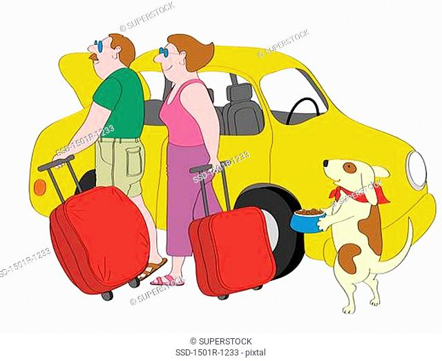 Couple and dog with suitcases standing next to yellow car, illustration