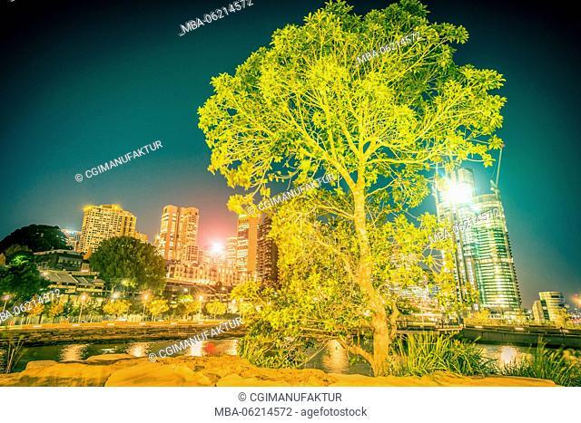 Australia, Sydney, New South Wales, night, harbor, skyline