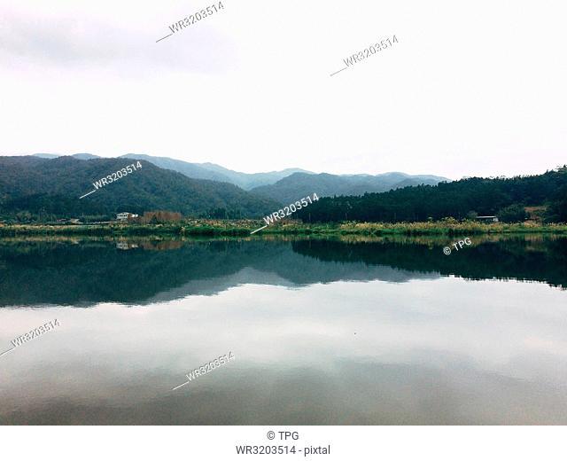 Overview of the Shuanglianpi lake and mountain in Yilan Taiwan