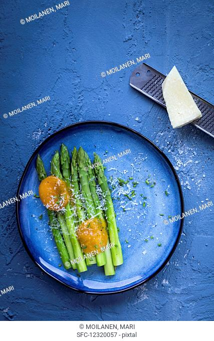 green asparagus, cured egg yolks, graved eggs, asparagus