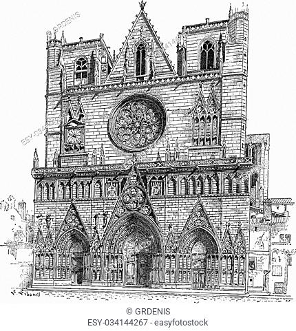 Lyon Cathedral in Lyon, France, vintage engraved illustration. Dictionary of Words and Things - Larive and Fleury - 1895