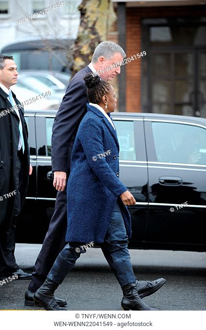 Funeral of NYPD officer Wenjin Liu in Manhattan Featuring: Bill de Blasio, Chirlane McCray Where: New York City, New York