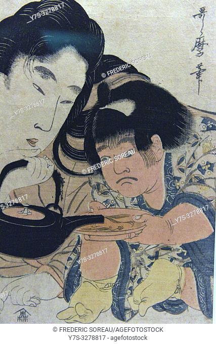 Yamanba and Kintaro, Pouring Sake, by Kitagawa Utamaro (1753-1806), Edo period,19 th century,Tokyo National Museum,Tokyo,Honshu,Japan,Asia