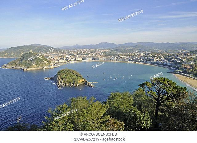 Bay La Concha mountain Monte Urgull and Santa Clara Island view from mountain Monte Igueldo San Sebastian province of Gipuzkoa Basque Country Spain Pais Vasco