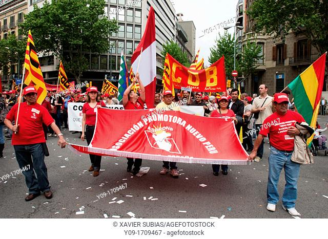 May Day demonstration, 2010, Barcelona, Spain