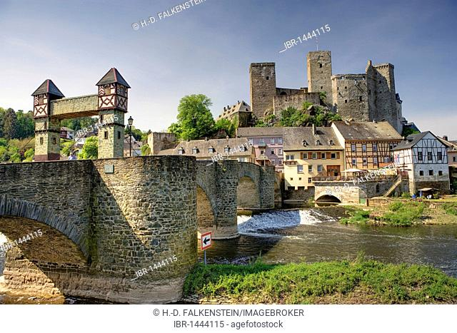 Runkel on the Lahn river, with the old Lahnbruecke bridge, Hesse, Germany, Europe