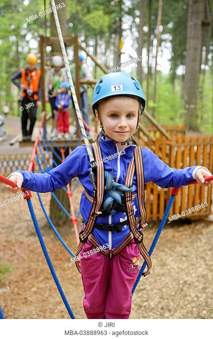Family, 6 year-old girl, climbing park, Linhart, Karlsbad, Czechia, Europe