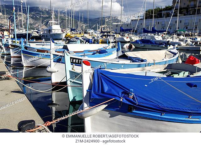 Boats aligned , Saint Jean Cap Ferrat, Picturesque fishing village , ALpes Maritimes, Provence Alpes Cote d'Azur, France, Europe