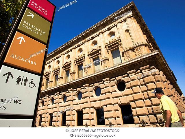 Signal Palacios Nazaries, Nasrid Palaces, Alcazaba, at right Palacio Carlos V, Palace Charles V, Alhambra, Granada, Andalusia, Spain, Europe