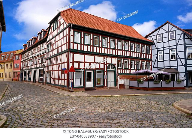 Nordhausen downtown facades in Thuringia of Germany