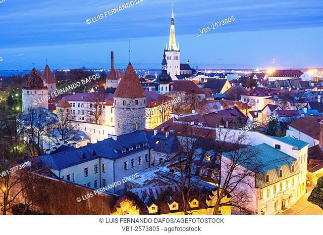 Tallinn old town overview lighted at dusk. Tallinn, Estonia