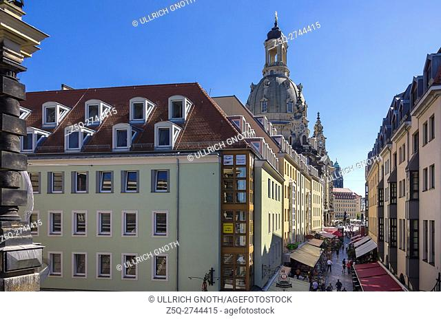 Overlooking Frauenkirche Church from Bruhl's Terrace in the city of Dresden, Saxony, Germany