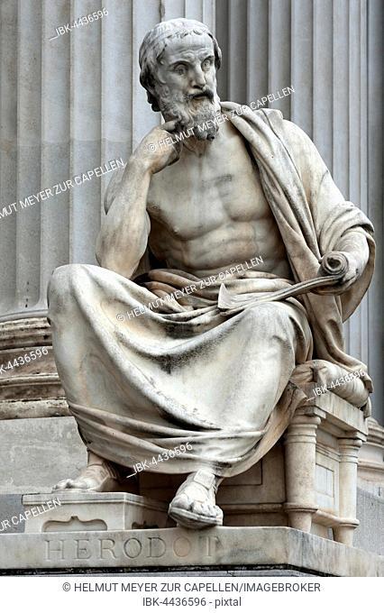 Statue of Herodotus, 19th century, in front of Parliament, Vienna, Austria