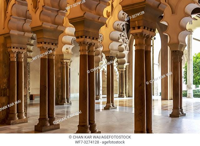 Zaragoza, Spain - Jan 2019: Moorish-Taifa north side halls facing the courtyard at Aljaferia Palace