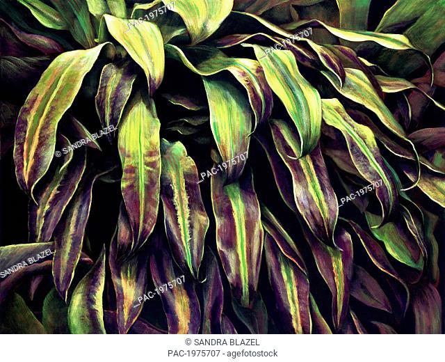 Purple Ti, Layers Of Ti-Leaves (Acrylic Painting)