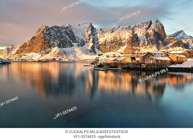 The beautiful and iconic Sakrisoya village at sunrise in winter day, Lofoten Islands, Northern Norway, Europe