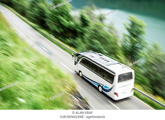 High angle view of blurred bus on road