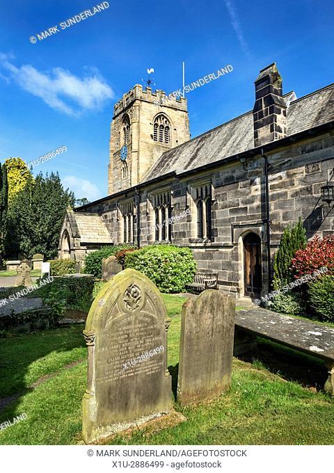 St Thomas a Becket Parish Church and Graveyard at Hampsthwaite North Yorkshire England