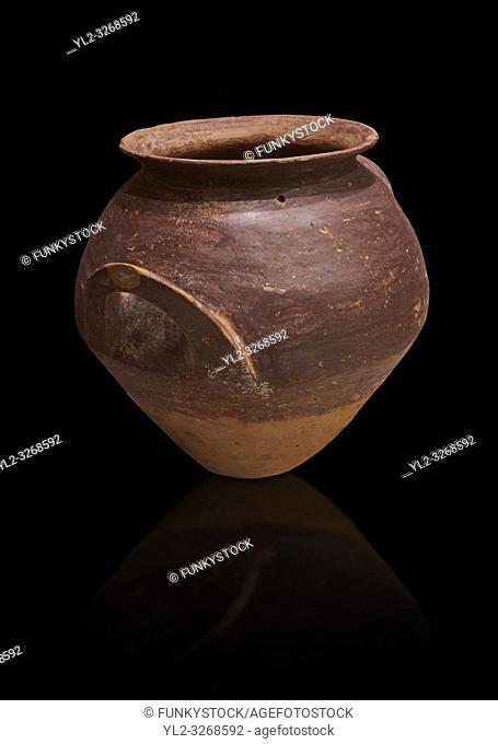 Hittite terra cotta pot woth two handles. Hittite Period, 1600 - 1200 BC. Hattusa BoÄŸazkale. Çorum Archaeological Museum, Corum, Turkey