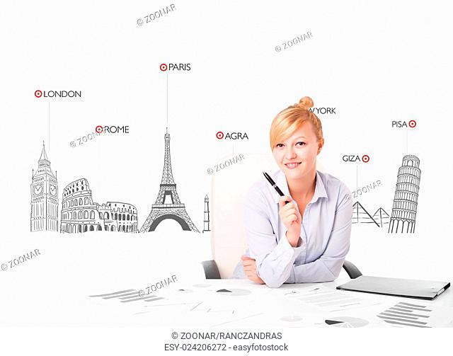 Beautiful businesswoman with world map and major landmarks of the world
