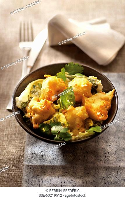 Fritters with salad