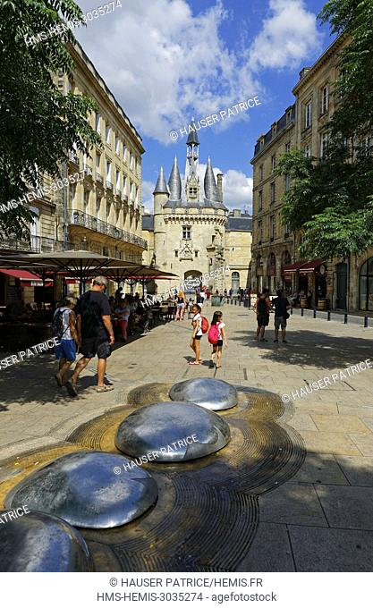 France, Gironde, Bordeaux, area listed as World Heritage by UNESCO, the Palais square and Porte Cailhau or Porte du Palais