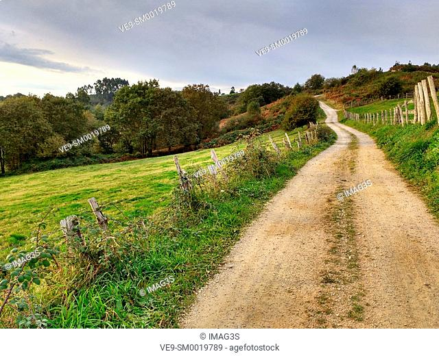 Rural landscape near El Remediu village, Nava municipality, Asturias, Spain