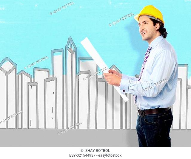 Smart architect holding blueprint map