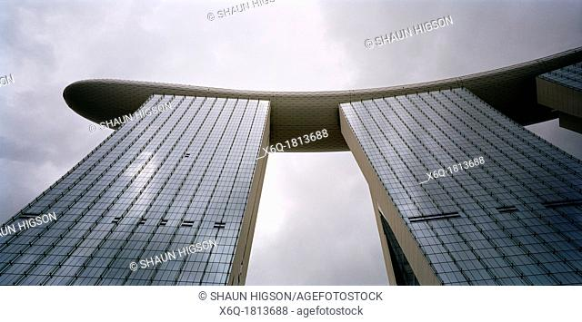 Looking up at the Marina Bay Sands Hotel to the Skypark in Singapore