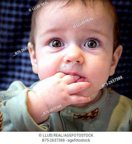 Portrait of a six month old baby girl looking at the camera with fingers in her mouth