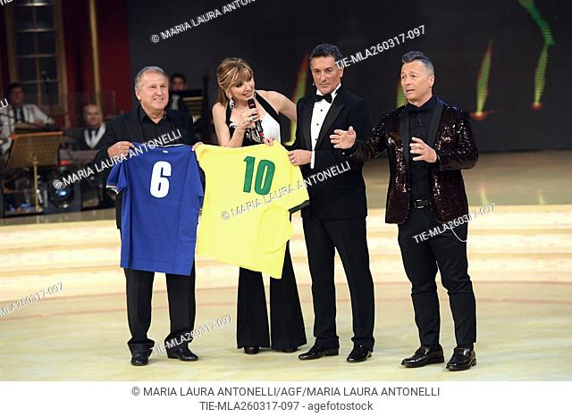 The former football player Arthur Antunes Coimbra ' Zico ', Milly Carlucci, Claudio Gentile ,Paolo Belli during the tv show Ballando con le stelle, Rome