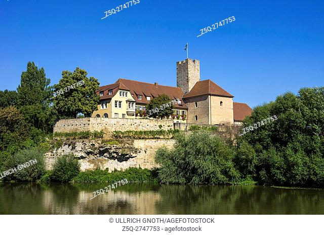 Lauffen am Neckar, Baden-Wurttemberg, Germany, view of the medieval Grafenburg castle and todays town hall